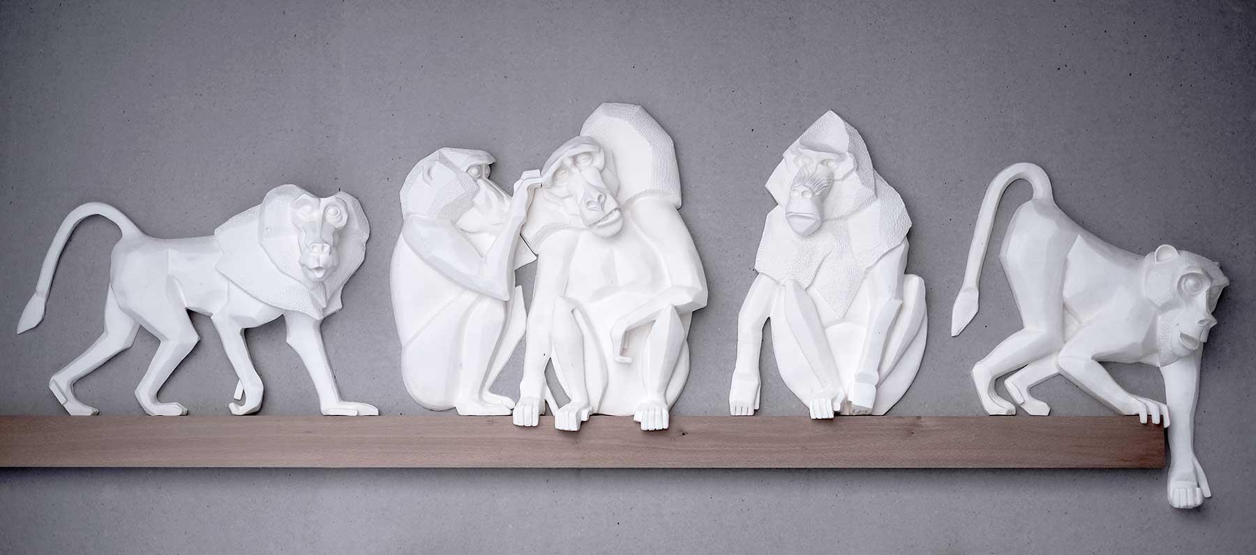 Skulpturen Affen - Haus und Haus